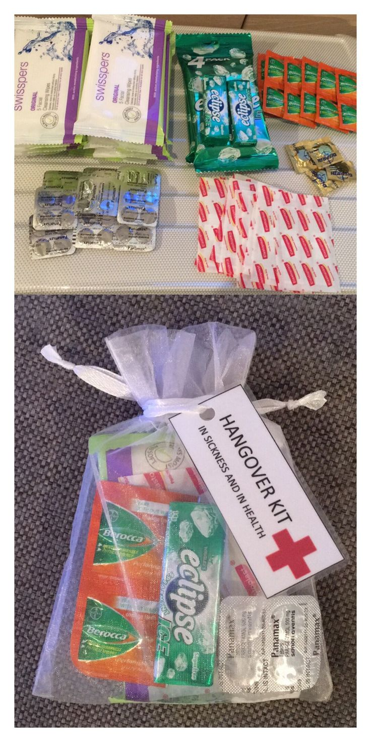 Hangover kits, for our destination wedding bags: - face wipes - band aids - paracetamol - berocca  - gum