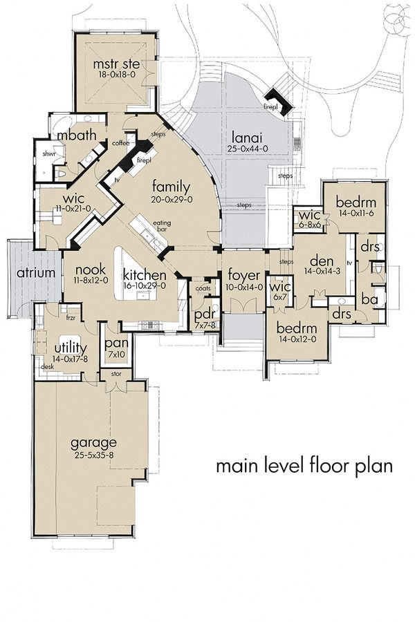 Contemporary Style House Plan - 3 Beds 3.50 Baths 4264 Sq/Ft Plan #120-188 Floor Plan - Main Floor Plan - Houseplans.com