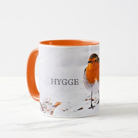 Hygge with a cute robin bird in snow mug - click/tap to personalize and buy