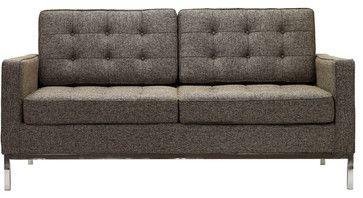 Florence Style Loveseat in Oatmeal Wool - modern - Love Seats - LexMod