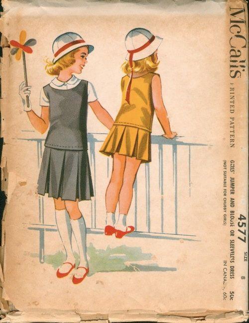 Neat Vintage Uncut 1950s McCall's 4577 Designer Helen Lee Girls Drop Waist Dress or Jumper and Blouse Sewing Pattern Sz 8 di NostalgieVintage su Etsy https://www.etsy.com/it/listing/234134820/neat-vintage-uncut-1950s-mccalls-4577