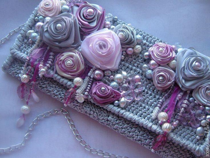 Купить Клатч из атласных лент. - серый, цветочный, вечерняя сумочка, ручная…