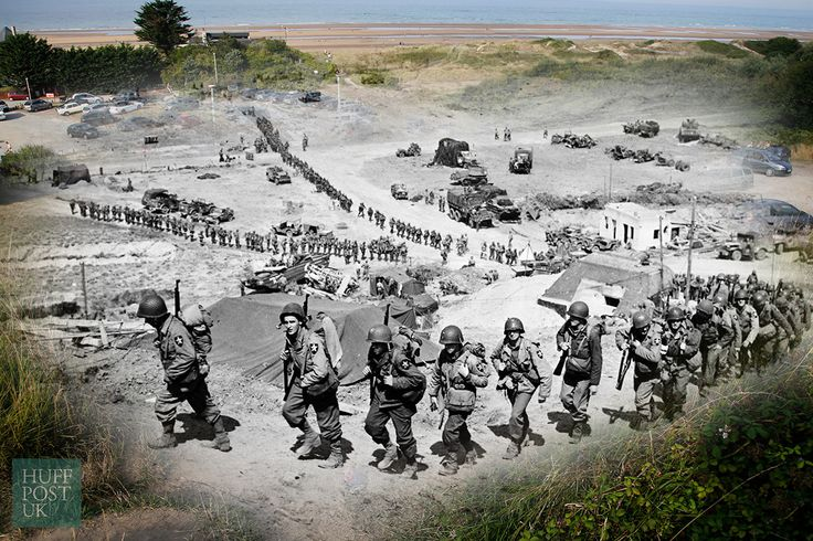 Where US Army reinforcements once marched on June 18, 1944, tourists now tread the same path to the beach near Colleville sur Mer, France.
