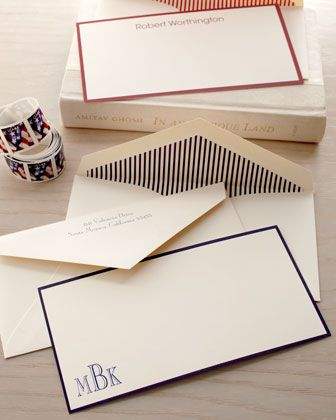 Bordered Correspondence Cards and Envelopes Corner Monogram (with lined envelopes) - Neiman Marcus