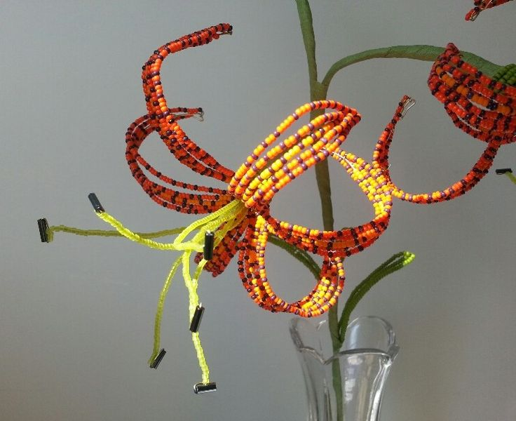 French beaded flower - tiger lily- by Markingtime on Etsy