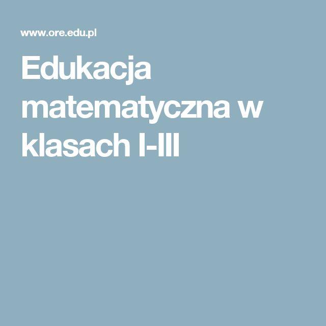 Edukacja matematyczna w klasach I-III