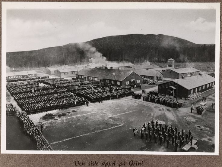 1945, May 8th. Last assembly of the prisoners at Grini prison camp outside Oslo, Norway. Photo:Fanny Wikborg