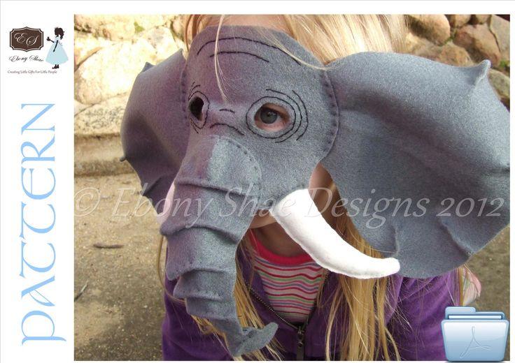 Felt Elephant Mask PATTERN. Instant Download sewing pattern PDF for elephant mask kids costume. by EbonyShae on Etsy https://www.etsy.com/listing/105347168/felt-elephant-mask-pattern-instant