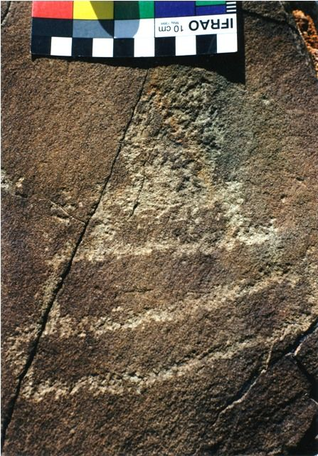 Fig. 10. A rock carving of a similar style ceremonial structure found in Ruthok. Protohistoric period
