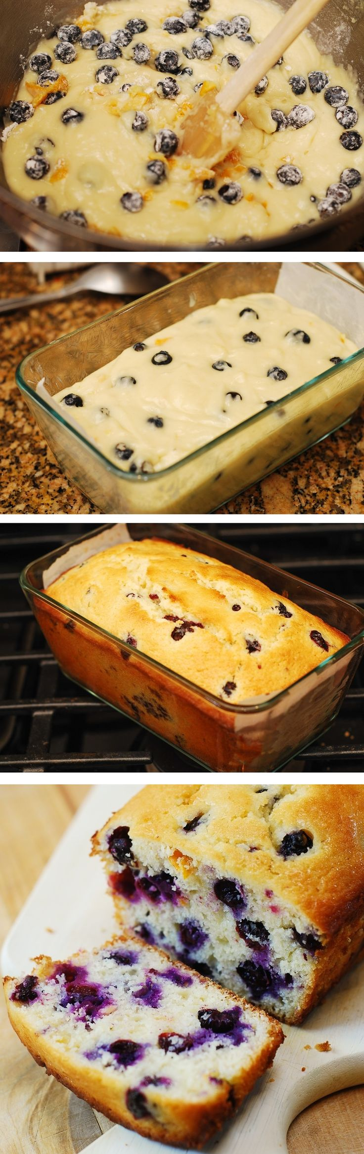 Lemon blueberry bread made with freshly squeezed lemon juice, lemon zest and baked to perfection! JuliasAlbum.com #berry_desserts #breakfast_ideas