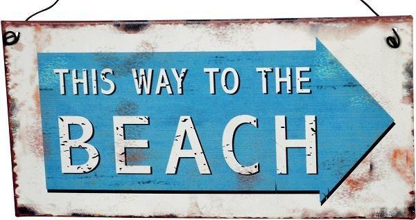 Tin sign - This Way To The Beach - 20cm x 10cm - beach house decor