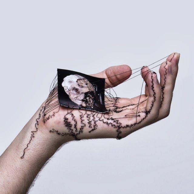 Deux artistes ont décider de prendre pour toile ou leur propre main sur laquelle ils brodent (âmes sensibles s'abstenir) : Eliza Bennett :http://elizabennett.co.uk/ David Cata : http://davidcata.com/
