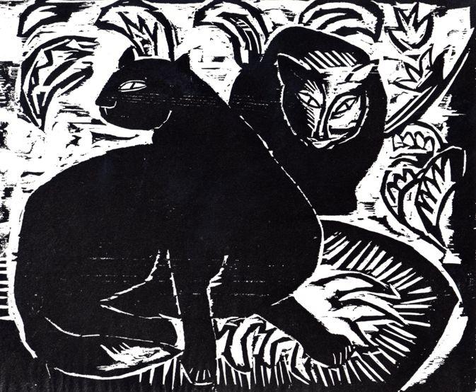 Karl Schmidt-Rottluff, 1914, Cats II, woodcut, Brücke-Museum Berlin.