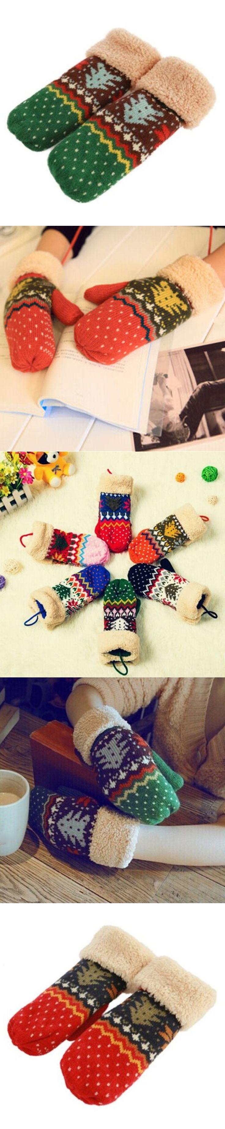 2016 Chrismas Tree Pattern Double Layer Knit Halter Mittens Warm Winter Gloves Women 8OOH