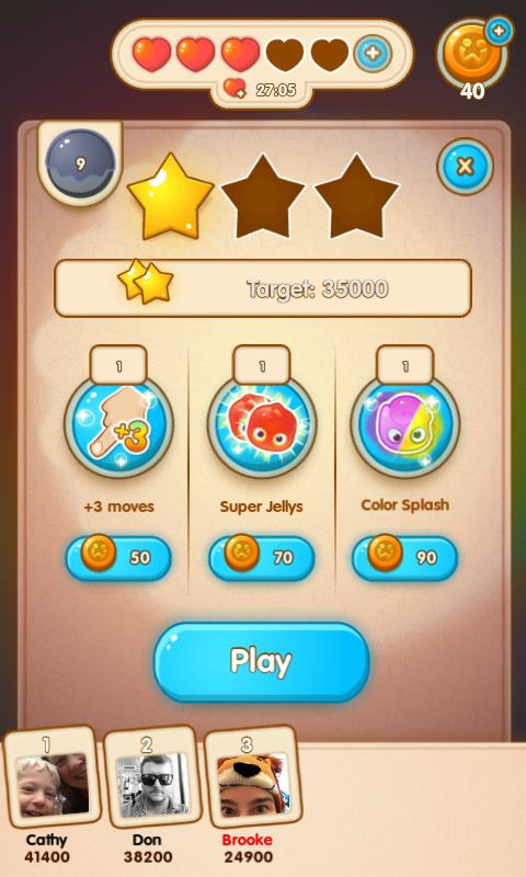 Jelly Splash by Wooga - Level Start / Objective Screen, after Boosters are Unlocked in game  - Match 3 Game - iOS Game - Android Game - UI - Game Interface - Game HUD - Game Art