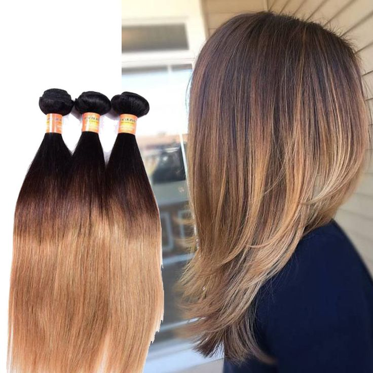 "3Bundles 18"" 300g Real Human Hair Extension 1B/4/27 Straight Hair Weft #Unbranded #StraightBundle"