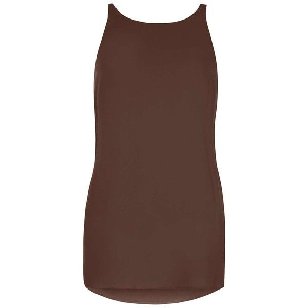 Dorothy Perkins Chocolate Longline Cami Top ($25) ❤ liked on Polyvore featuring tops, brown, brown tops, camisole tops, brown cami, brown tank and chocolate brown camisole