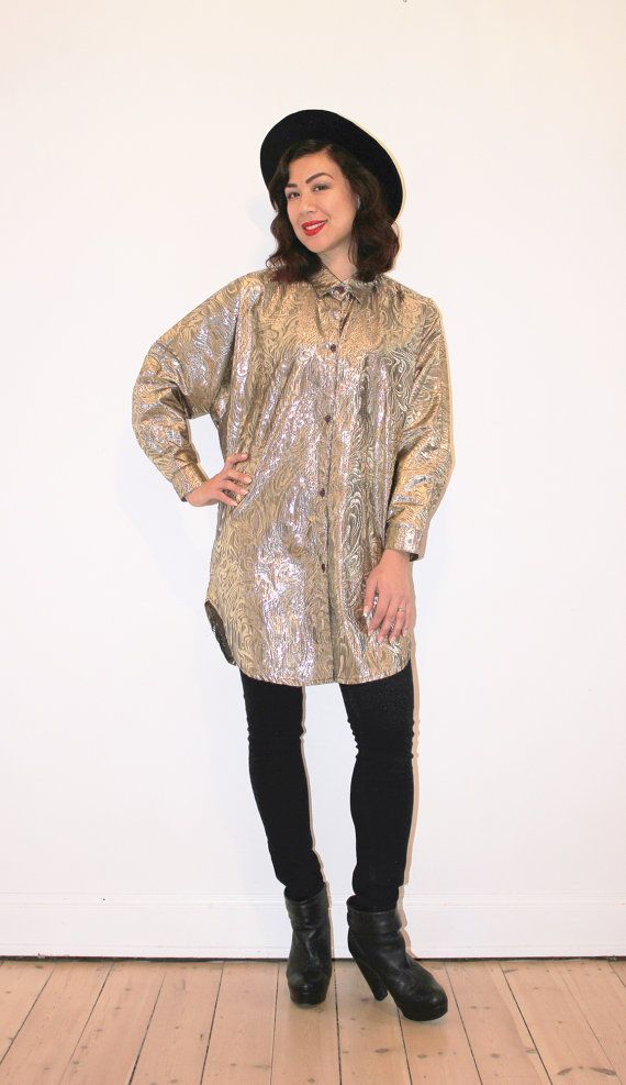 Long super shiny gold blouse by CirkusVintageCph on Etsy