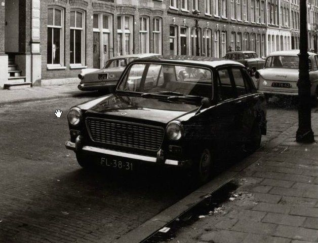 1966. Amerikaan (DG-25-91) and Austin (FL-38-31) and Daffodil parked on a street in Amsterdam. Photo  Stadsarchief Amsterdam. #amsterdam #1966