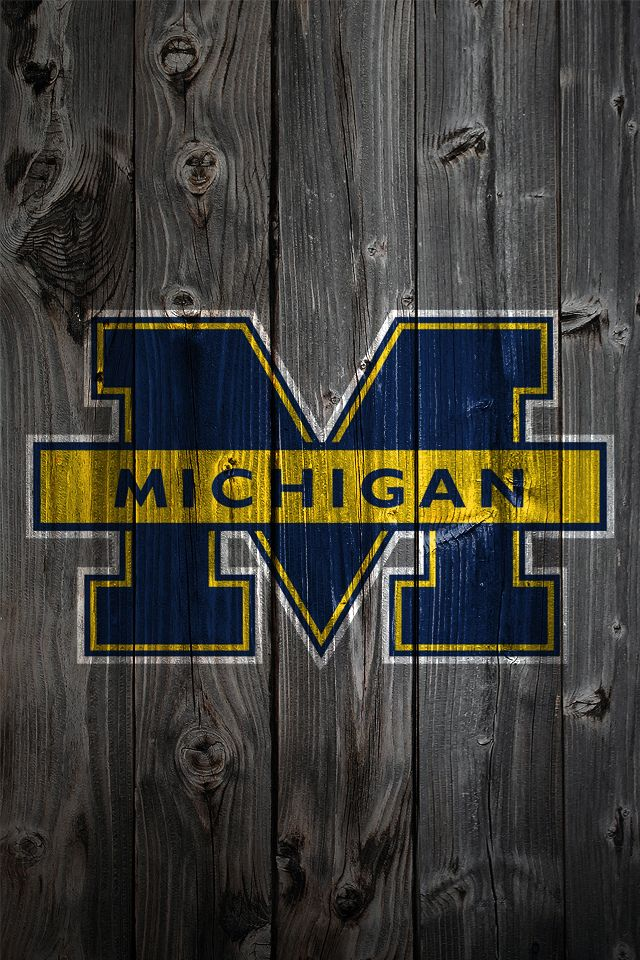 Michigan Logo - weathered wood iphone wallpaper