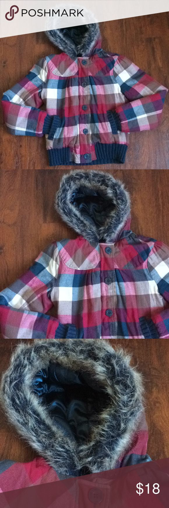 Plaid O'neill jacket Channel your inner lumber jack with this jacket!  O'neill brand zip up lined jacket  Also buttons up  Hood with faux fur trim Condition: good used condition. Shows show signs of normal wear. No stains that I'm aware of.  Reasonable offers welcome! O'Neill Jackets & Coats