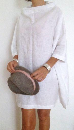 Vestiti in Lino Tunica Lino Bianco Casacca XXL di atelierPop