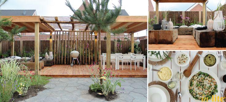 Tuin uit Eigen Huis & Tuin met een Ibiza look en wandlamp ACE UP-DOWN #garden #tuininspiratie #buitenverlichting #12V #eigenhuisentuin