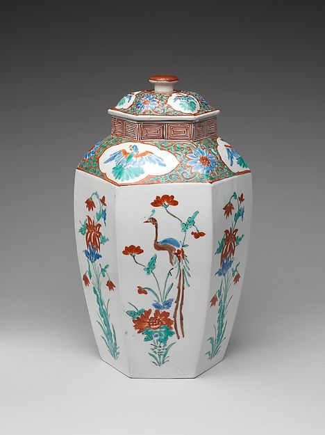 Hexagonal jar with Flower and Bird Decoration (one of a pair) | Japan | Edo period (1615–1868) | The Met