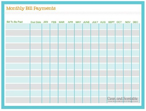 how to organize paperwork and bills clean and scentsible free printable to keep track - Bills Organizer