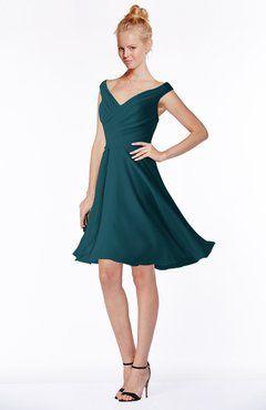 cb0b50cc11e ColsBM Chloe Blue Green Classic Fit-n-Flare Zip up Chiffon Knee Length  Ruching Bridesmaid Dresses