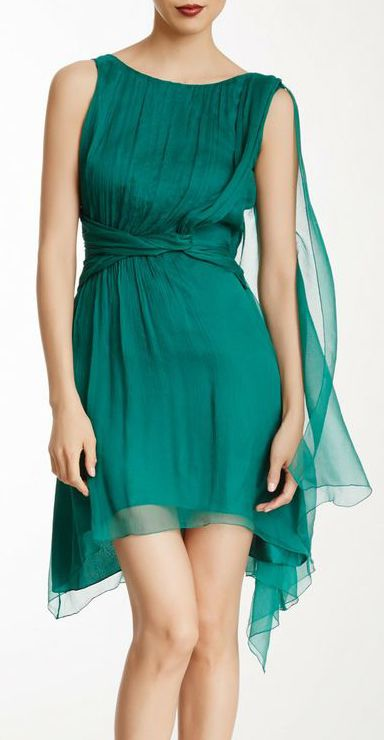 Silk V-Back Pleated Dress