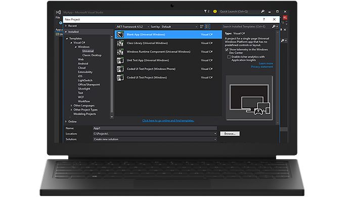 Screen shot of Visual Studio Community 2013 within a laptop