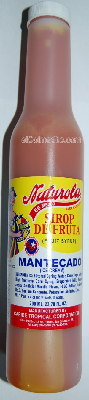 Dulces Tipicos Sirop de Mantecado para Piraguas<br>Ice Cream Syrup for Snowcones 24.5onz Puerto Rico