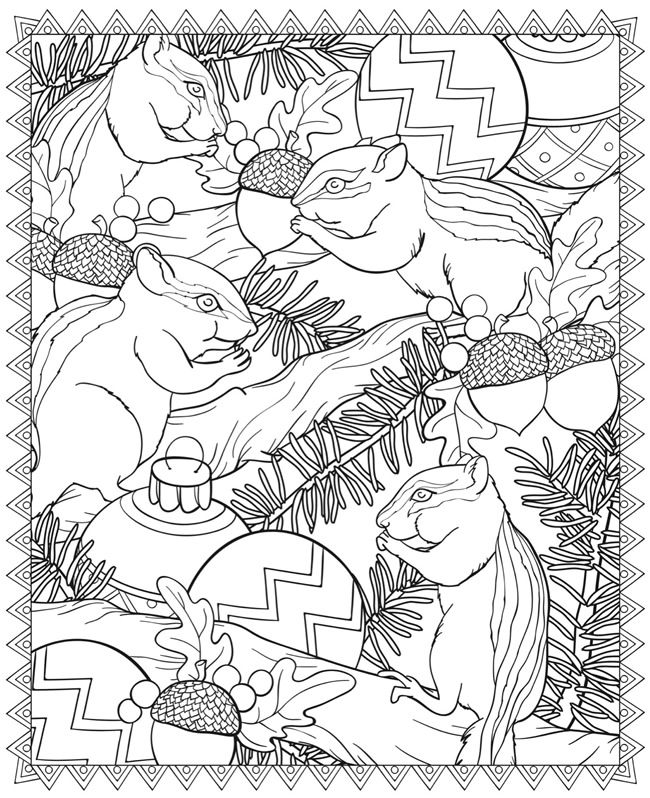 Welcome to Dover Publications. Chipmunks and acorns.....with pine boughs...gonna print and color this one!