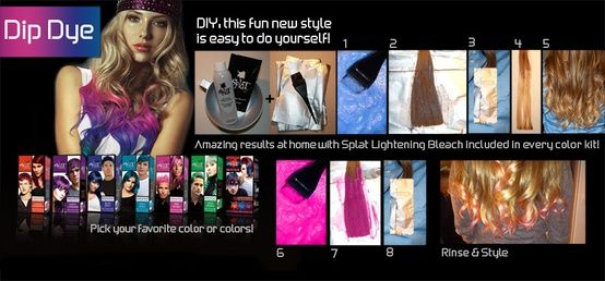 Splat Hair Color: get the dip dye style                                                                                                                                                                                 More