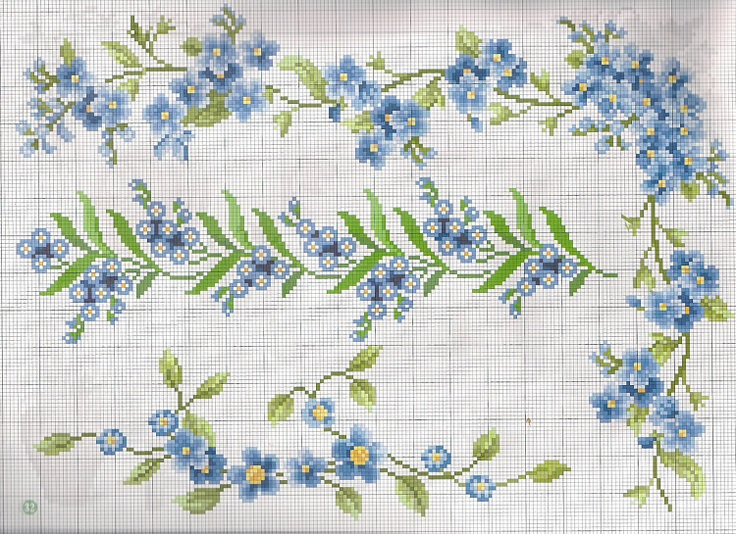 cross stitch forget me nots