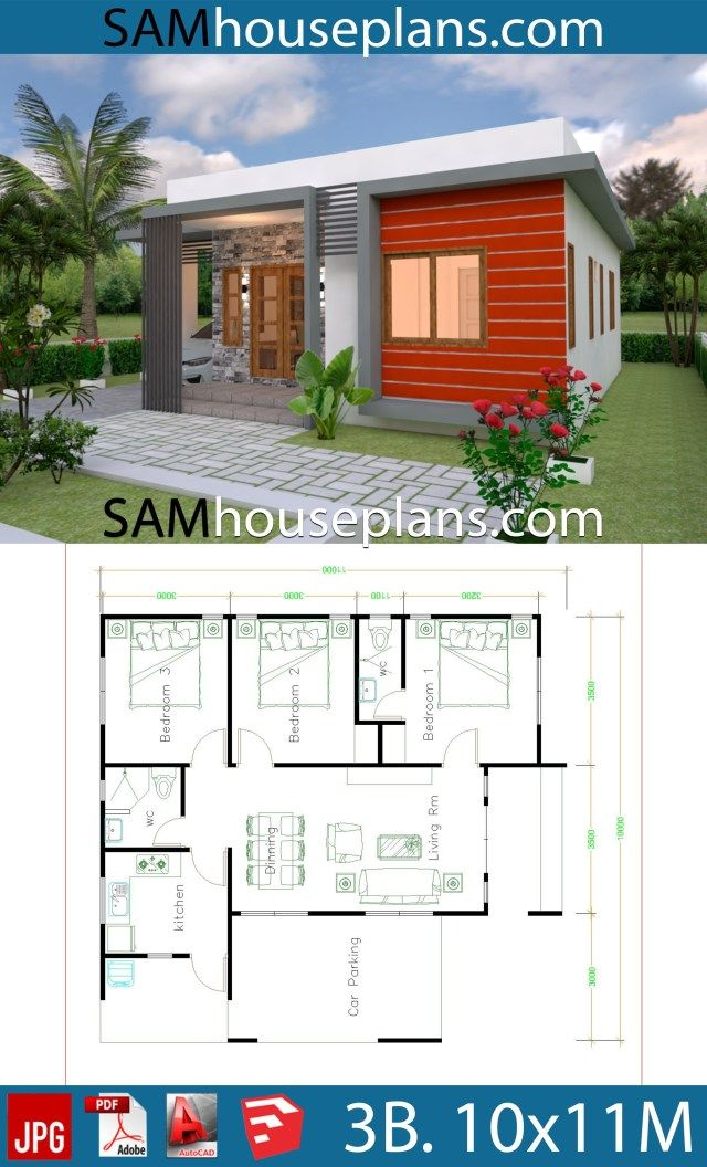 House Plans 10x11 With 3 Bedrooms House Plans Bungalow House Design