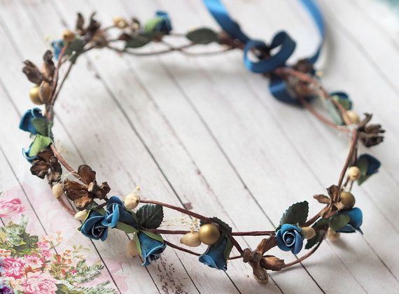 Boho Wedding Crown Blue Wedding Crown Blue Hair by TwoCatsAndAnOwl