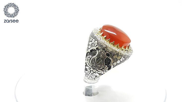 انگشتر نقره مردانه دست ساز فاخر عقیق قرمز کد R06 Video Silver Jewelry Gemstone Rings Men S Rings
