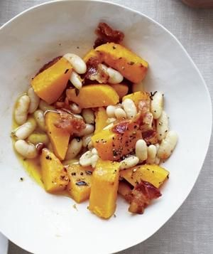 Pumpkin With White Beans and Bacon: use center-cut bacon & count (or use Applegate Farms Organic Uncured Turkey Bacon, a PF).  Butternut squash (peeled & cubed) can be substituted if fresh pumpkins are unavailable.  Suggest 1/2 tsp. kosher salt & 1/4 tsp. pepper.