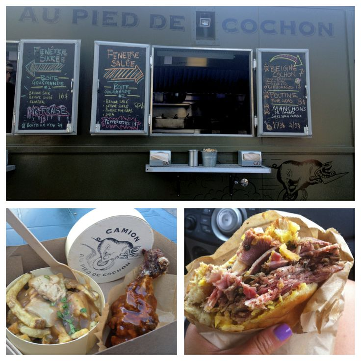 Au Pied de Cochon Food Truck in Montreal's Foie Gras Poutine, Duck Leg in Maple BBQ Sauce and their pork sandwich in a doughnut