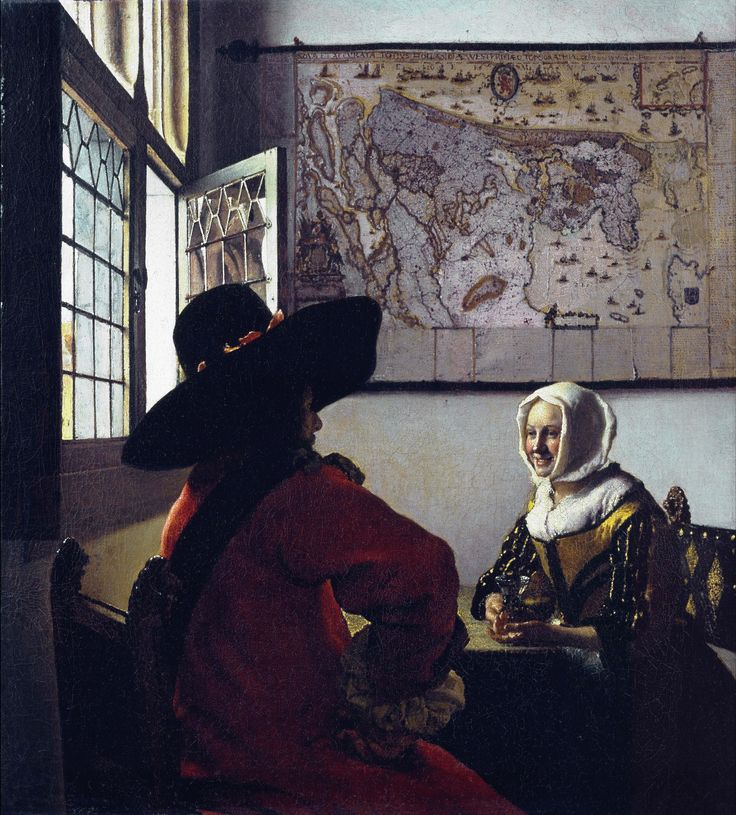 Officer and Laughing Girl, Vermeer, 1657. Johannes, Jan or Johan Vermeer was a Dutch painter who specialized in domestic interior scenes of middle class life. Vermeer was a moderately successful provincial genre painter in his lifetime.