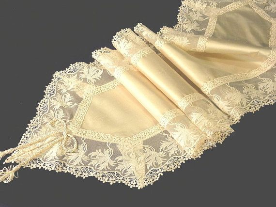 Ecru Silk Table runner with Viennese lace by ClassyInteriorsDeco