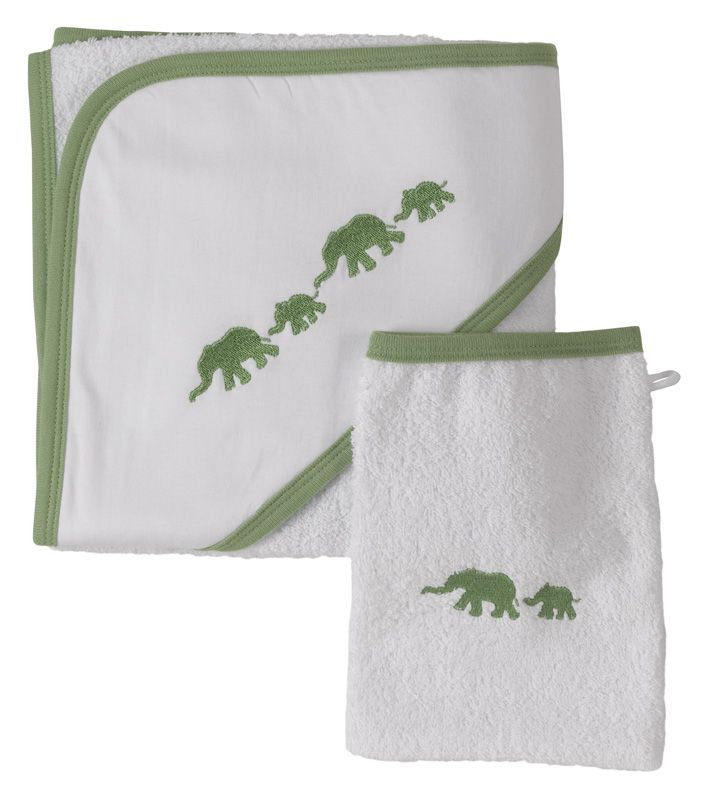 Hooded towel and matching wash mitt, elephant design in organic cotton by Pigeon.