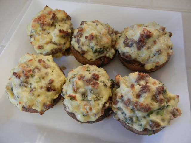 Eggface Dinner Party Food Appetizers - Sicilian Sausage & Ricotta Cheese Stuffed Mushrooms - Low Carb