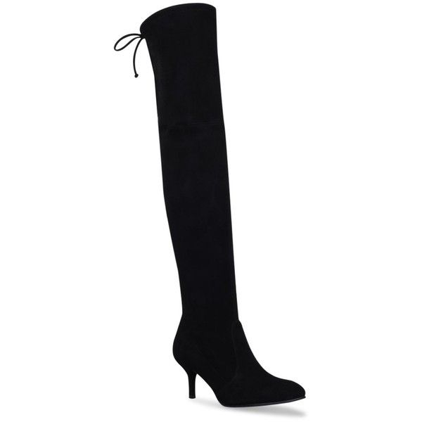 Stuart Weitzman Tie Model Boots (61,885 INR) ❤ liked on Polyvore featuring shoes, boots, stretch boots, kitten heel boots, tie shoes, stretch suede boots and kitten heel suede boots