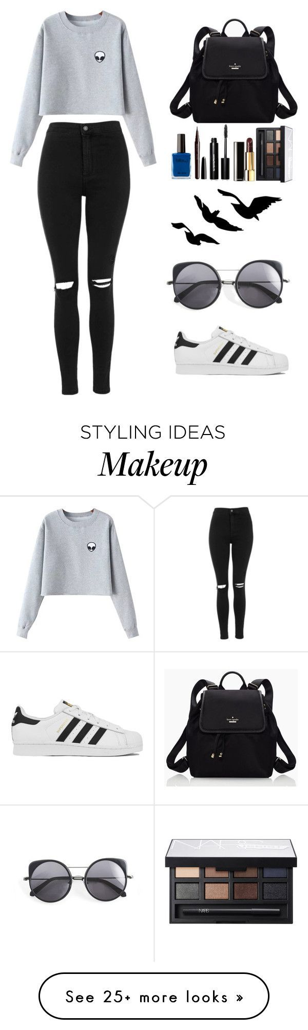 """Untitled #9"" by mischievousblonde on Polyvore featuring Chicnova Fashion, Topshop, adidas, Kate Spade, Marc Jacobs, Bobbi Brown Cosmetics, Chanel, NARS Cosmetics, Wood Wood and women's clothing"