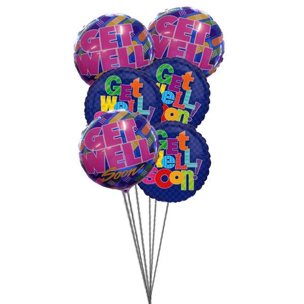 Bunchofgetwellsoonballoons 6 Mylar Balloons Ballloons Giftballoons Balloon Bouquet Delivery Balloon Delivery Send Balloons