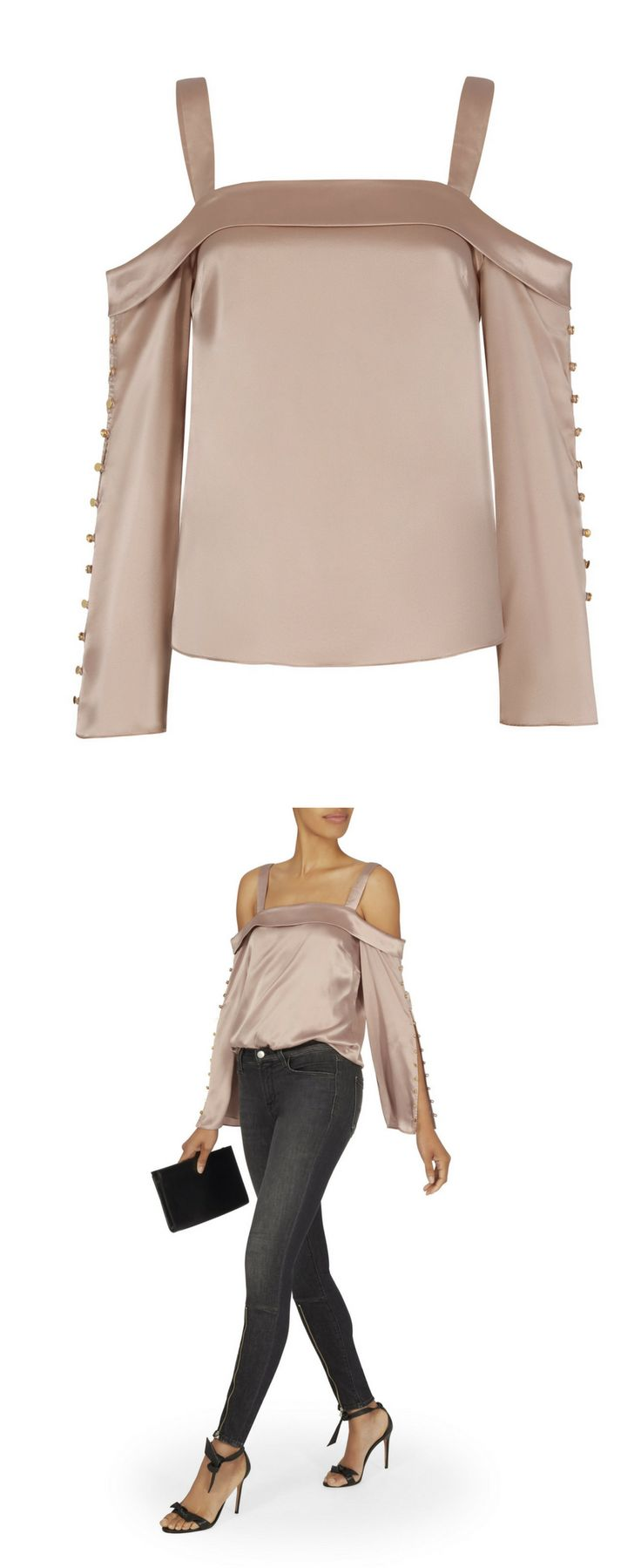 Fall fashion 2017, Gleaming gold-tone buttons detail the long sleeves of this elegant cold shoulder satin blouse. Square neckline with fold over detail. Keyhole opening at back with button closure.