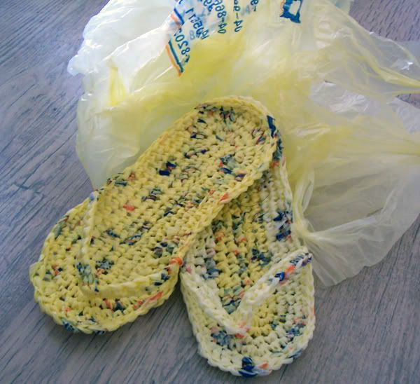 Plastic Bags + crochet= flip flops. These would be good to take camping.ugly but awesome for shower sandals